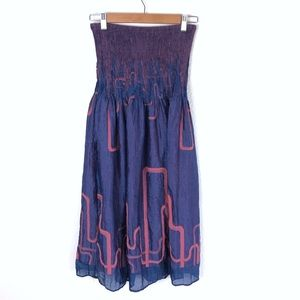 Anthropologie Lapis Boho Blue Pink Dress Skirt